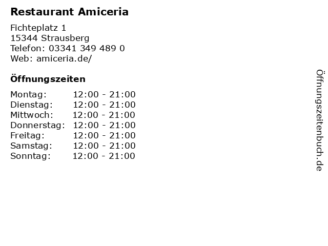 Restaurant Amiceria in Strausberg: Adresse und Öffnungszeiten