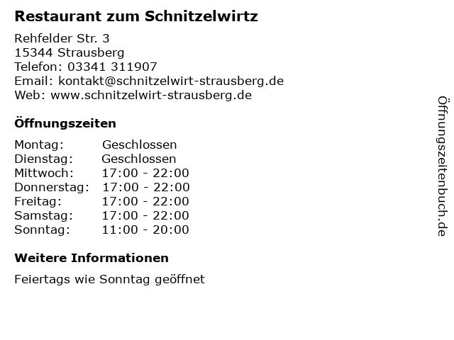 Restaurant zum Schnitzelwirtz in Strausberg: Adresse und Öffnungszeiten