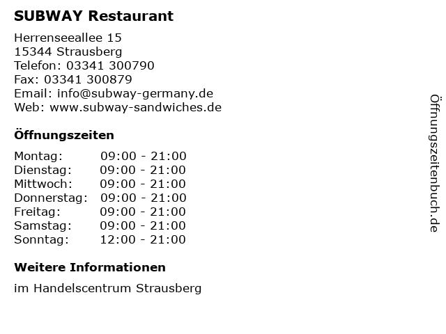 SUBWAY Restaurant in Strausberg: Adresse und Öffnungszeiten