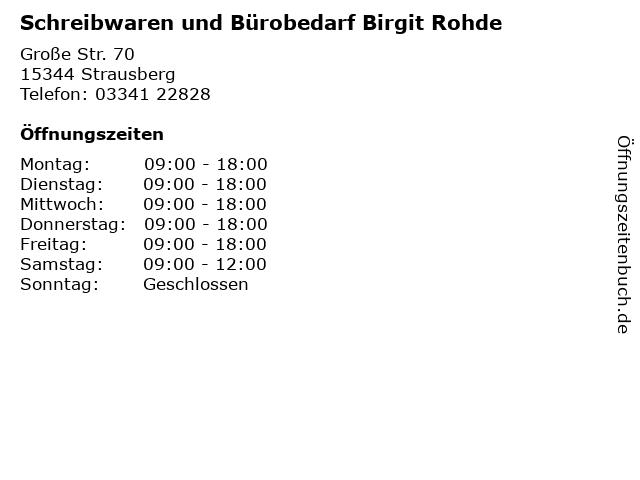 Schreibwaren und Bürobedarf Birgit Rohde in Strausberg: Adresse und Öffnungszeiten