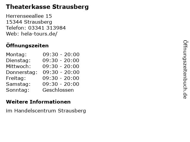 Theaterkasse Strausberg in Strausberg: Adresse und Öffnungszeiten
