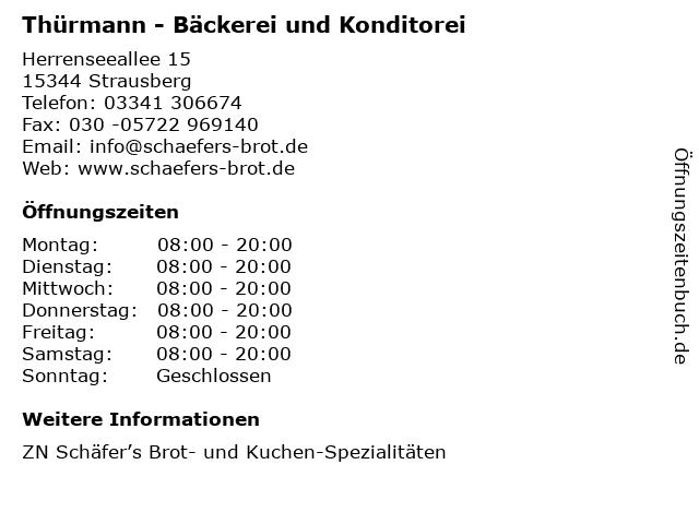 Thürmann - Bäckerei und Konditorei in Strausberg: Adresse und Öffnungszeiten