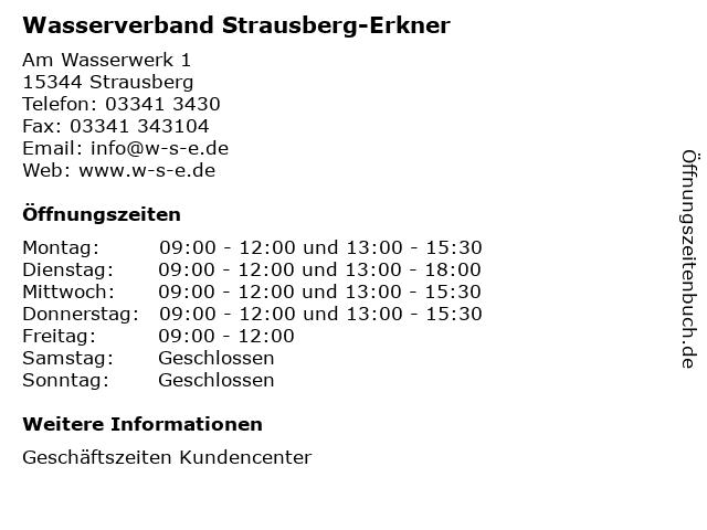 Wasserverband Strausberg-Erkner in Strausberg: Adresse und Öffnungszeiten