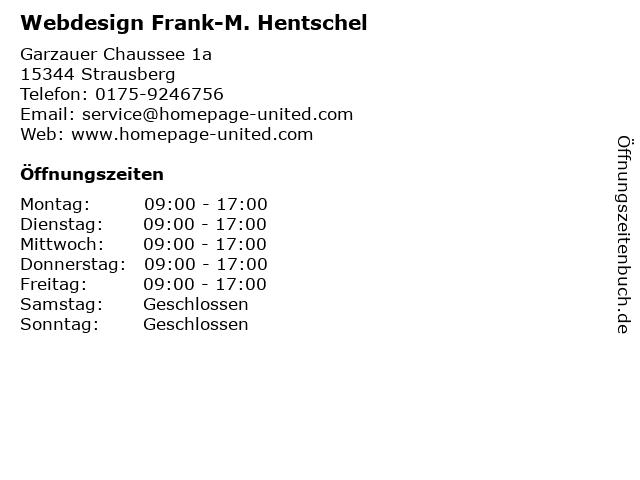 Webdesign Frank-M. Hentschel in Strausberg: Adresse und Öffnungszeiten