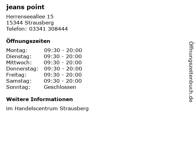 jeans point in Strausberg: Adresse und Öffnungszeiten