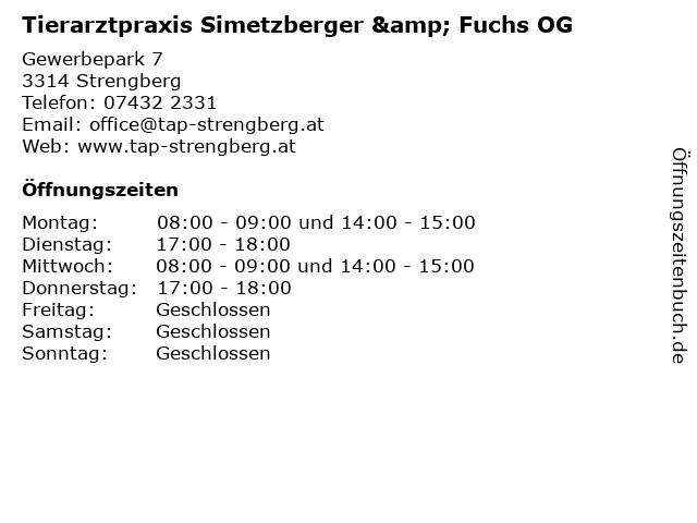 Tierarztpraxis Simetzberger & Fuchs OG in Strengberg: Adresse und Öffnungszeiten