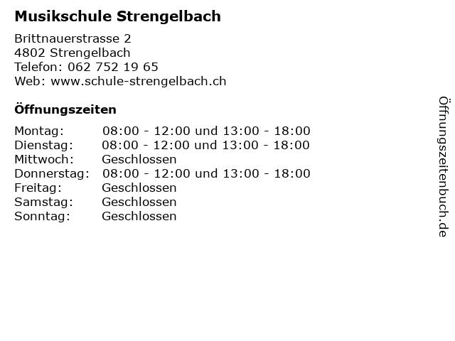 Musikschule Strengelbach in Strengelbach: Adresse und Öffnungszeiten