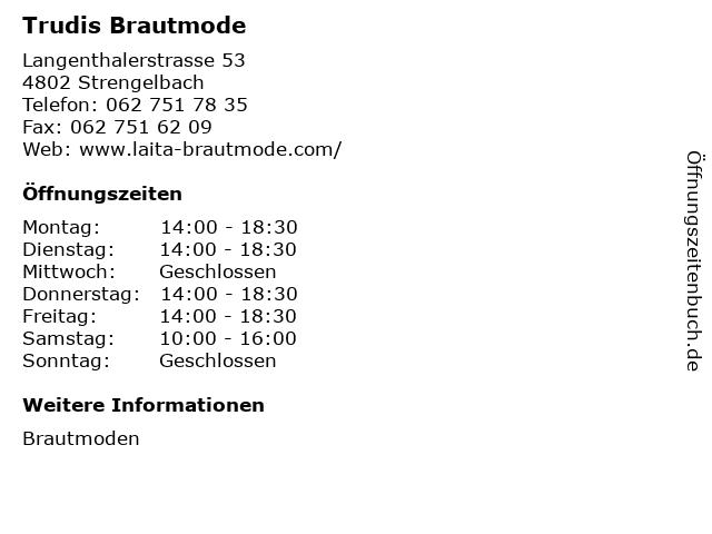 ᐅ Offnungszeiten Trudis Brautmode Langenthalerstrasse 53 In