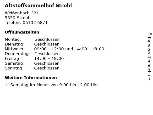 Altstoffsammelhof Strobl in Strobl: Adresse und Öffnungszeiten