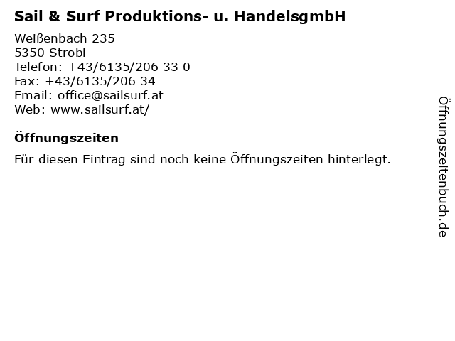 Sail & Surf Produktions- u. HandelsgmbH in Strobl: Adresse und Öffnungszeiten