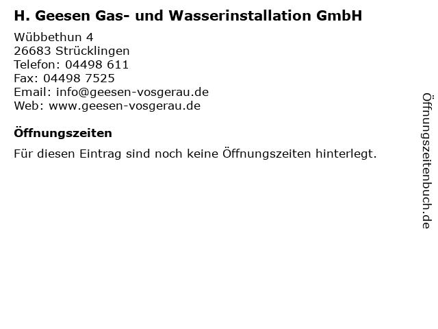 H. Geesen Gas- und Wasserinstallation GmbH in Strücklingen: Adresse und Öffnungszeiten