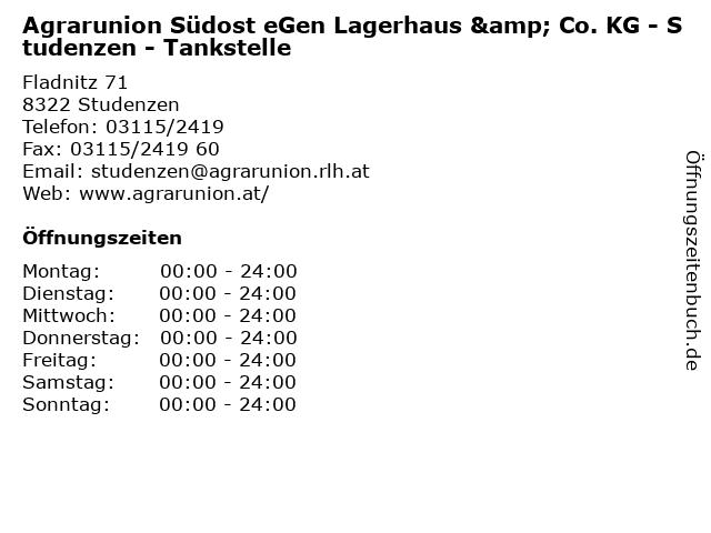 Agrarunion Südost eGen Lagerhaus & Co. KG - Studenzen - Tankstelle in Studenzen: Adresse und Öffnungszeiten