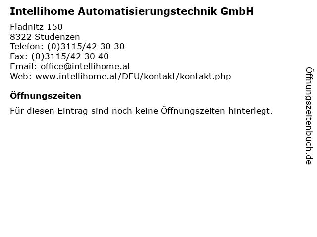Intellihome Automatisierungstechnik GmbH in Studenzen: Adresse und Öffnungszeiten