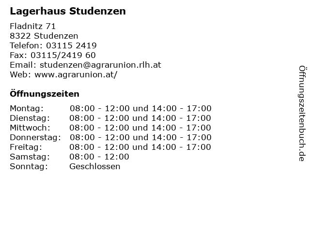 Lagerhaus Studenzen in Studenzen: Adresse und Öffnungszeiten