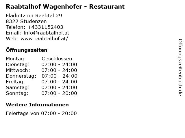 Raabtalhof Wagenhofer - Restaurant in Studenzen: Adresse und Öffnungszeiten