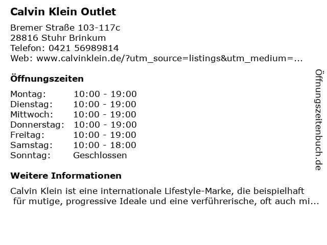 Calvin Klein in Stuhr: Adresse und Öffnungszeiten