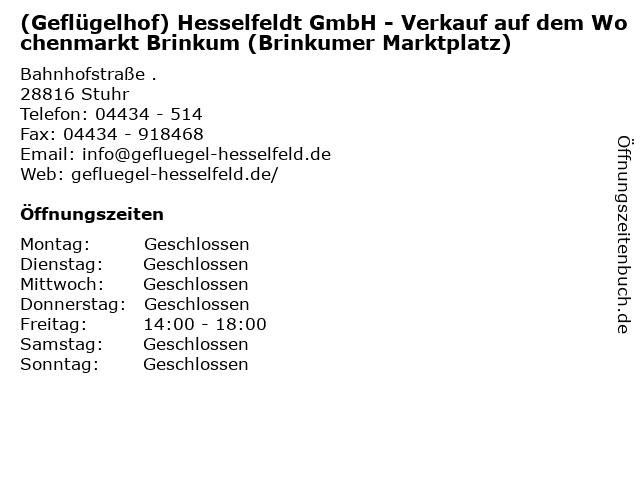 (Geflügelhof) Hesselfeldt GmbH - Verkauf auf dem Wochenmarkt Brinkum (Brinkumer Marktplatz) in Stuhr: Adresse und Öffnungszeiten