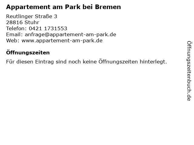 Appartement am Park bei Bremen in Stuhr: Adresse und Öffnungszeiten