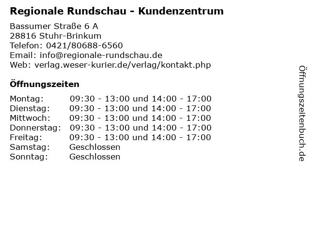 Regionale Rundschau - Kundenzentrum in Stuhr-Brinkum: Adresse und Öffnungszeiten