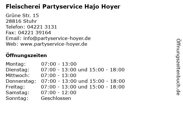 Fleischerei Partyservice Hajo Hoyer in Stuhr: Adresse und Öffnungszeiten