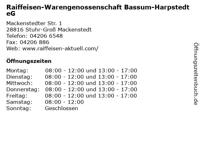 Raiffeisen-Warengenossenschaft Bassum-Harpstedt eG in Stuhr-Groß Mackenstedt: Adresse und Öffnungszeiten