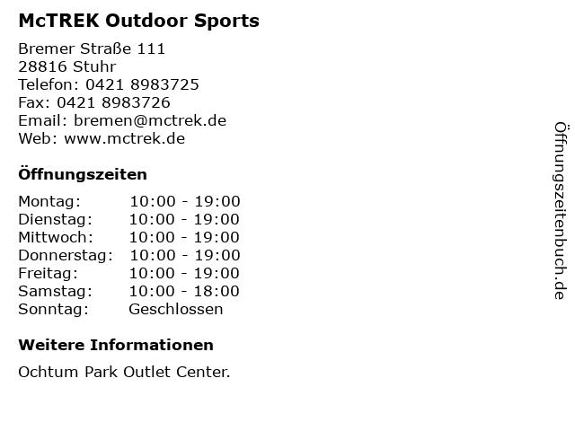 McTREK Outdoor Sports in Stuhr: Adresse und Öffnungszeiten