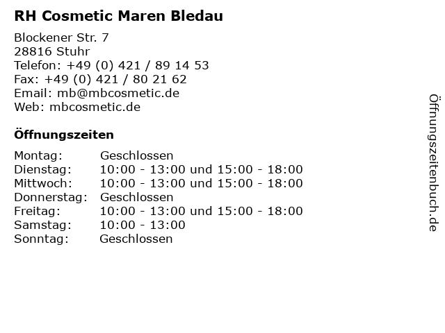 RH Cosmetic Maren Bledau in Stuhr: Adresse und Öffnungszeiten