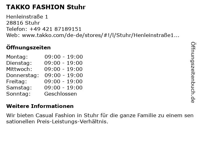 Takko Fashion in Stuhr: Adresse und Öffnungszeiten