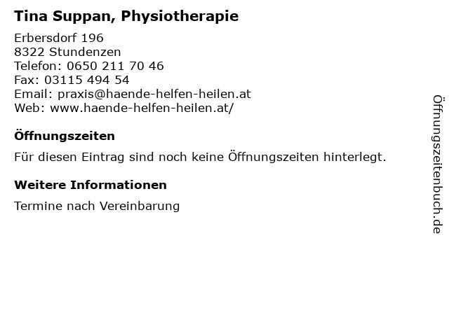 Tina Suppan, Physiotherapie in Stundenzen: Adresse und Öffnungszeiten