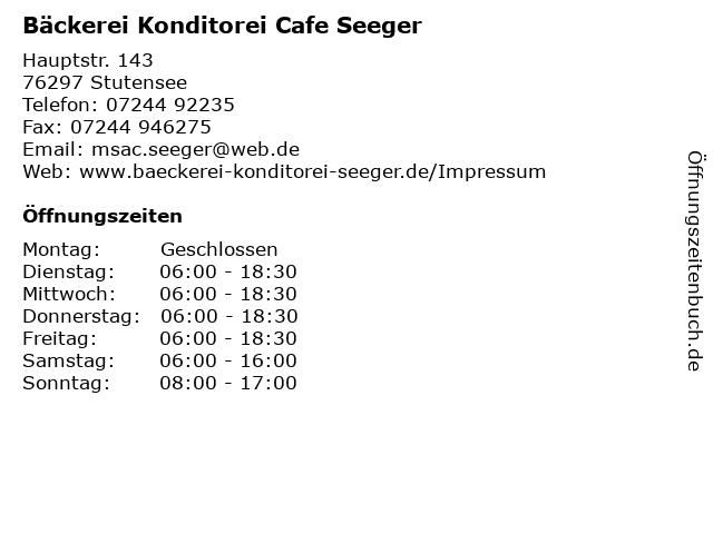 Bäckerei Konditorei Cafe Seeger in Stutensee: Adresse und Öffnungszeiten