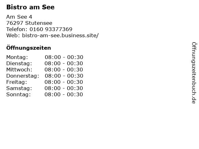 Bistro am See in Stutensee: Adresse und Öffnungszeiten