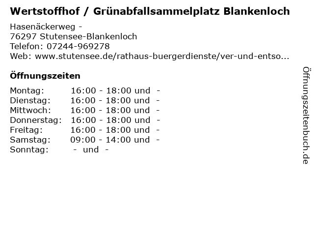 """ᐅ Öffnungszeiten """"Wertstoffhof / Grünabfallsammelplatz ..."""