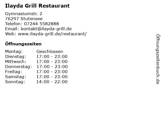 Ilayda Grill Restaurant in Stutensee: Adresse und Öffnungszeiten
