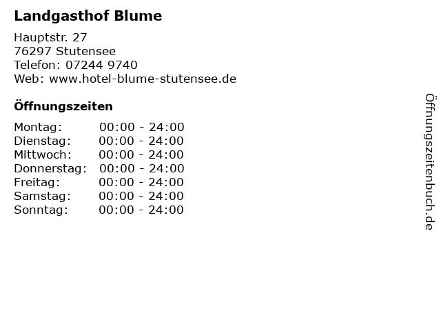 Landgasthof Blume in Stutensee: Adresse und Öffnungszeiten
