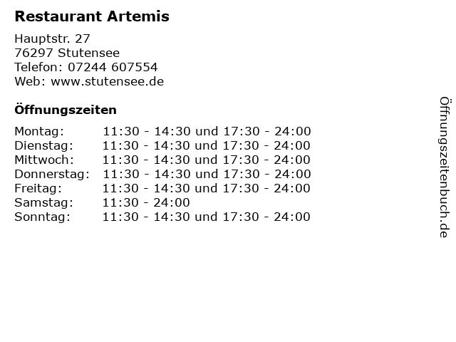 Restaurant Artemis in Stutensee: Adresse und Öffnungszeiten