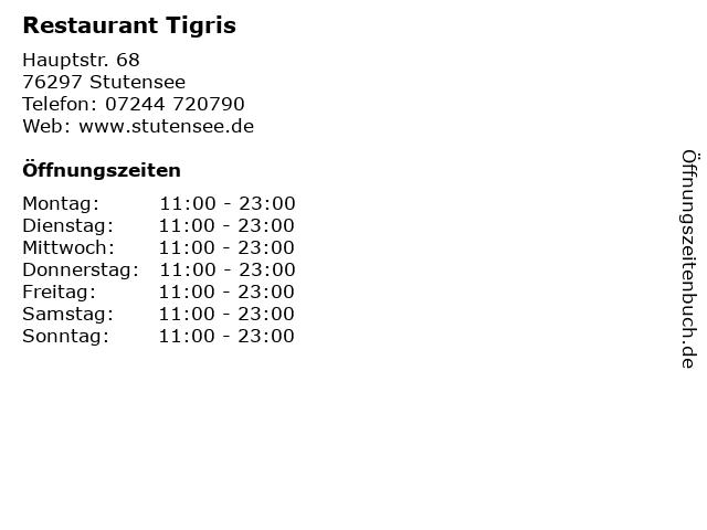 Restaurant Tigris in Stutensee: Adresse und Öffnungszeiten