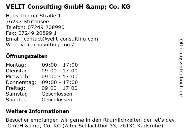 VELIT Consulting GmbH & Co. KG in Stutensee: Adresse und Öffnungszeiten