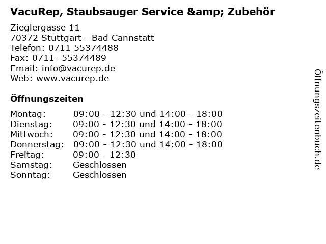 VacuRep, Staubsauger Service & Zubehör in Stuttgart - Bad Cannstatt: Adresse und Öffnungszeiten