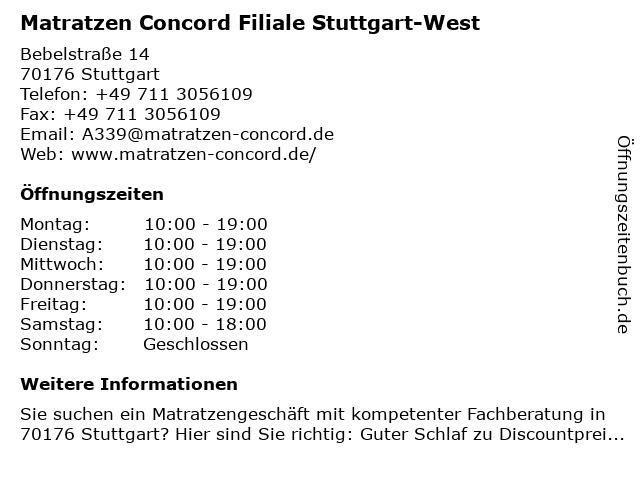 Matratzen Concord in Stuttgart West: Adresse und Öffnungszeiten