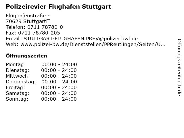 Polizeirevier Flughafen Stuttgart in Stuttgart: Adresse und Öffnungszeiten