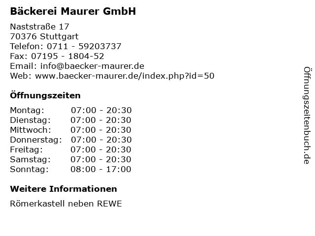 Bäckerei Maurer GmbH in Stuttgart- Römerkastell: Adresse und Öffnungszeiten