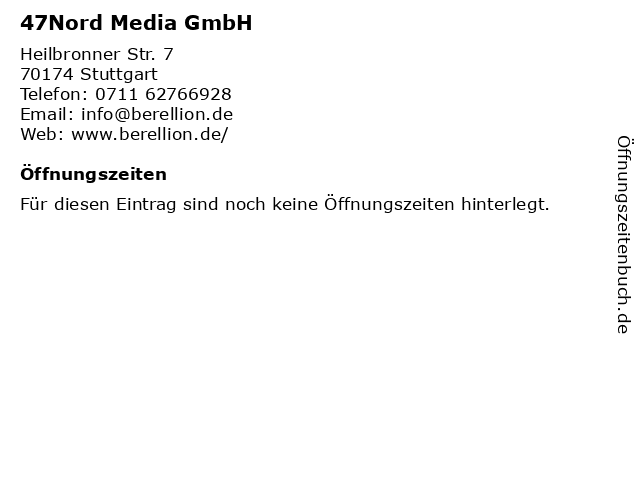 47Nord Media GmbH in Stuttgart: Adresse und Öffnungszeiten