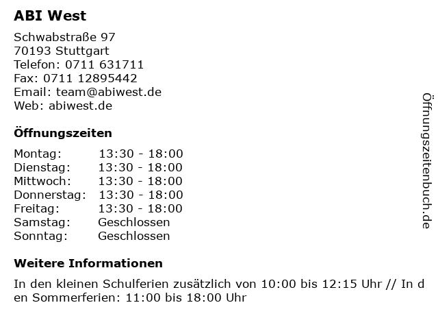 ABI West in Stuttgart: Adresse und Öffnungszeiten