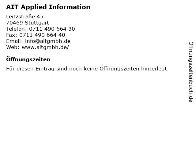 AIT Applied Information in Stuttgart: Adresse und Öffnungszeiten