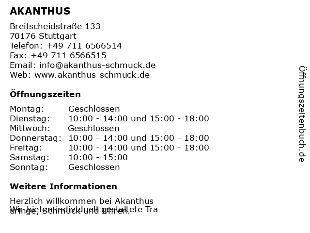 AKANTHUS in Stuttgart: Adresse und Öffnungszeiten