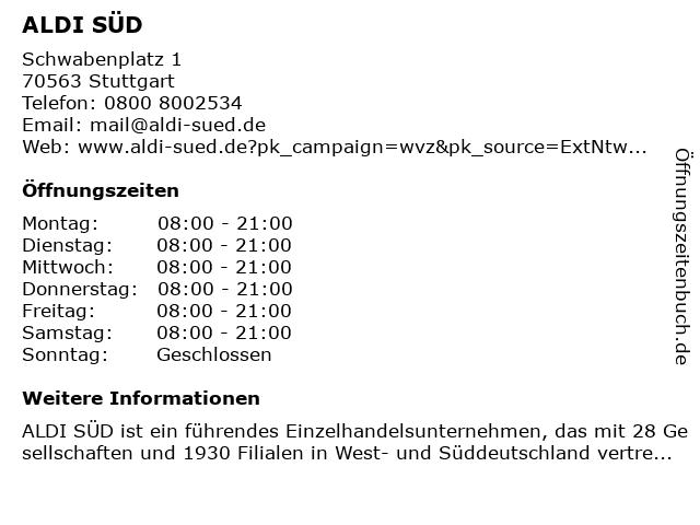 ALDI SÜD in Stuttgart: Adresse und Öffnungszeiten