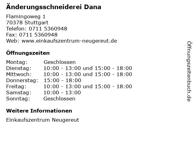 Änderungsschneiderei Dana in Stuttgart: Adresse und Öffnungszeiten