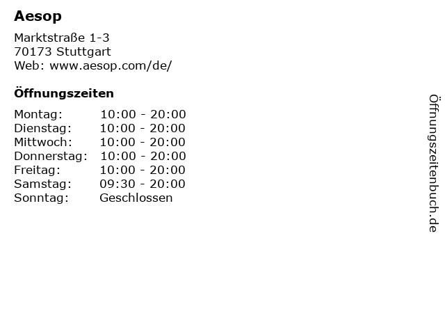 Aesop in Stuttgart: Adresse und Öffnungszeiten