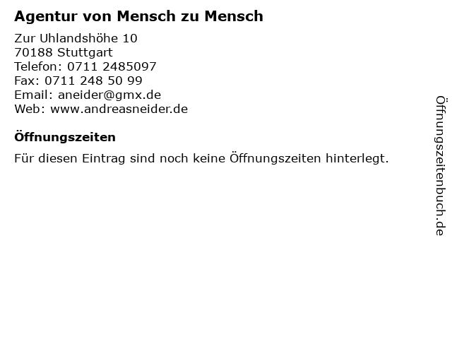 Agentur von Mensch zu Mensch in Stuttgart: Adresse und Öffnungszeiten