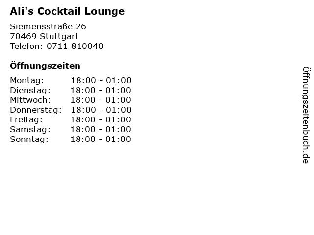 Ali's Cocktail Lounge in Stuttgart: Adresse und Öffnungszeiten
